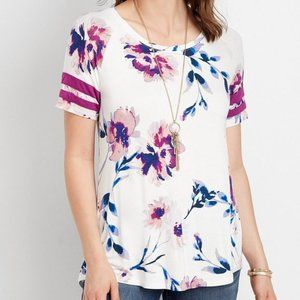 Maurices White Purple Floral Lace Up Crewneck Tee